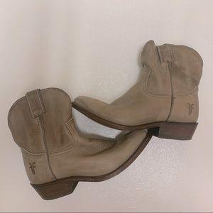 Frye short distressed cowboy boot